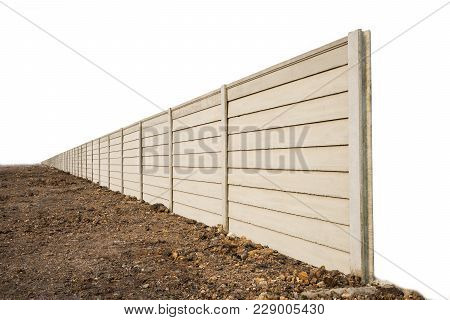 Perspective Of  Precast Concrete Wall On Fresh Ground Floor, Prefabricated Cement Compound Wall Isol