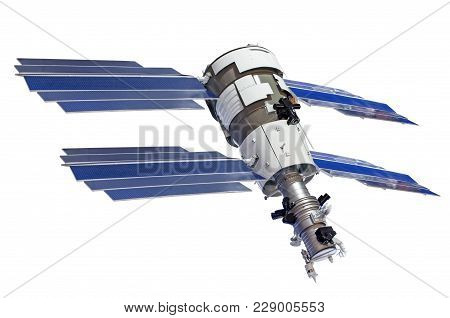 Satellite With Four Solar Panels For Sounding The Earth, Isolated On White Background