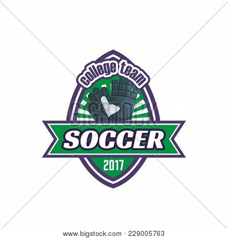 Soccer College Team Badge Or Football Sport Fan Club Icon. Vector Isolated Heraldic Badge Design Of
