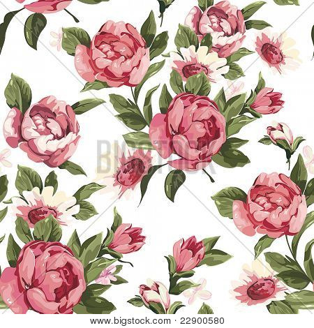 Elegance Seamless color peony pattern on white background, vector illustration