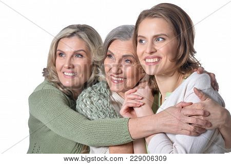 Portrait Of Three Happy  Women  Isolated On White Background