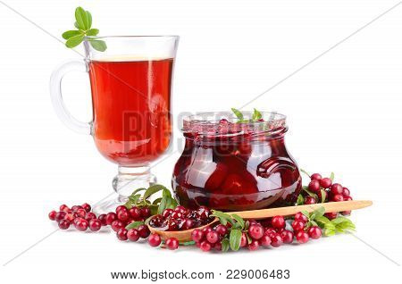 Cowberry Jam, Small Spoon, Tea And Fresh Berrys On White Background