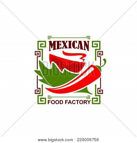 Mexican Food Restaurant Icon Of Jalapeno Chili Red Pepper For Mexican Fast Food Bistro Or Fastfood C