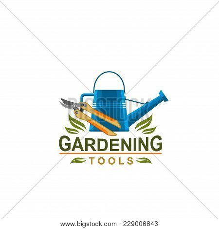 Gardening Tools Icon For Farmer Shop Or Garden Farming Store. Vector Isolated Symbol Of Watering Can