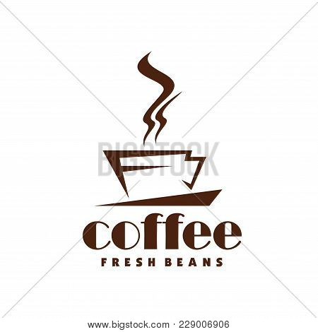 Coffee Cup And Steam Icon For Fresh Coffee Beans Packaging Or Cafe And Cafeteria Sign Design. Vector