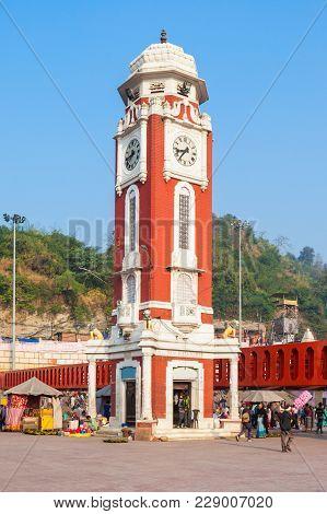 Birla Clock Tower At Har Ki Pauri Ghat In Haridwar, India.