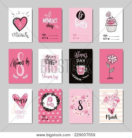 Women Day Background Holiday Greeting Cards Set, Invitation, Postcard Desing Grunge Hand Drawn Style