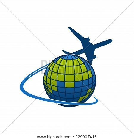 Airplane Flying Around World Globe Icon For Travel Agency Or Transportation And Mail Post Logistics