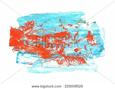 Oil Painting Background, Hand Painted Abstract Light Blue And Bright Red Strokes Isolated On White B