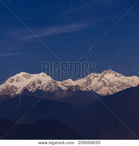 Kangchenjunga Night View From Pelling Viewpoint In West Sikkim, India