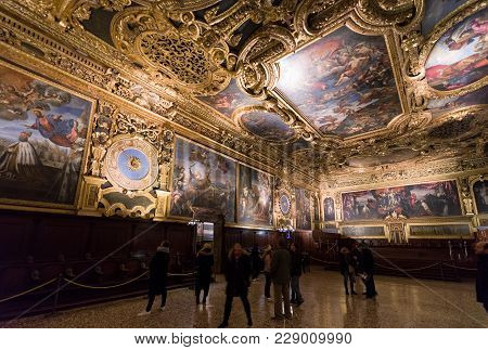 Senate Chamber At Doge's Palace, Venice