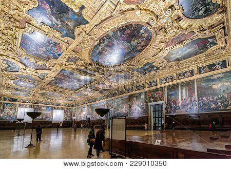 Sala Del Maggior Consiglio At Doge's Palace, Venice