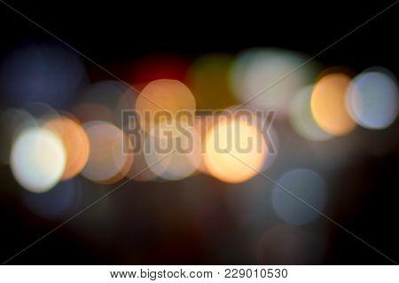 Abstract Bokeh Night City Light Blur Background