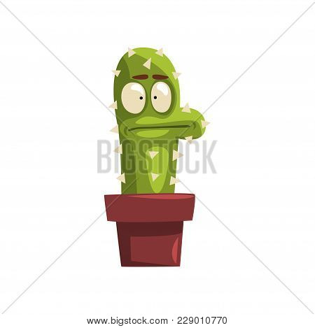 Puzzled Cactus Character In A Clay Pot, Succulent Plant With Funny Face In Flowerpot Vector Illustra