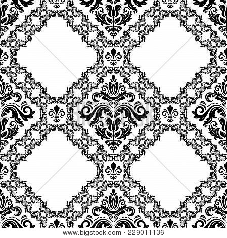 Orient Vector Classic Black And White Pattern. Seamless Abstract Background With Vintage Elements. O