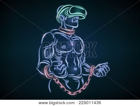 Slave Man In Chains And Helmet Glasses Vr Virtual Reality. Man Wearing Vr Glasses. Abstract World Wi