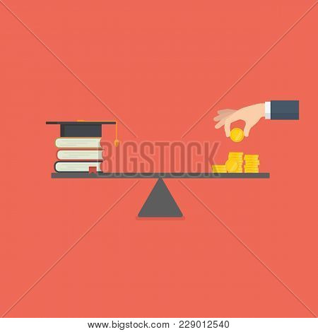 Education Investment. Saving Money For Education. Stack Of Book And Money On The Scale. High Cost Of