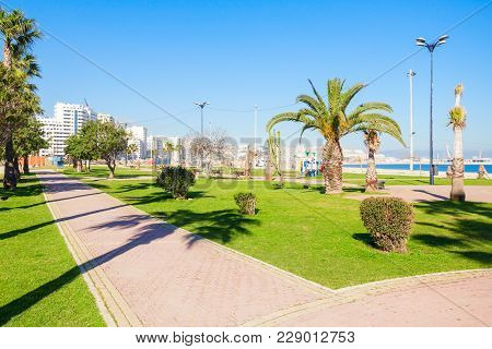 Seafront In Tangier, Morocco. Tangier Is A Major City In Northern Morocco. Tangier Located On The No