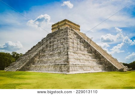 Pyramid Of Chichen Itza, Mayan Civilization One Of The Most Visited Archaeological Sites In Mexico.