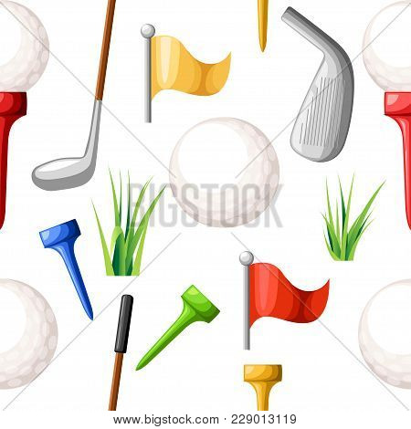 Seamless Pattern Of Golf Balls On Different Color Tee And Various Golf Clubs Green Grass Golf Course