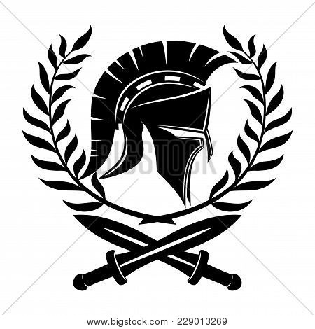 Spartan Helmet And Swords With A Laurel Wreath.