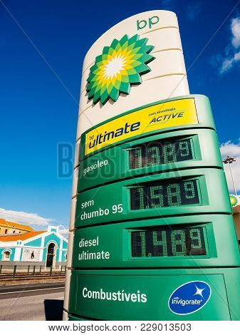 Lisbon, Portugal - Feb 10, 2018: View From Below Of Bp British Petroleum Totem Showing All Gas Price