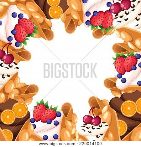 Pattern Of Hong Kong Waffle With Cherry Strawberry Orange And Whipped Or Chocolate Cream Egg Waffle