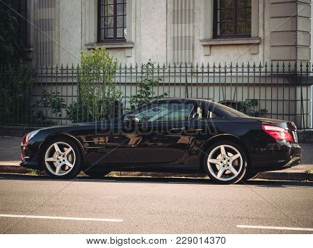 Strasbourg, France - May 9, 2017: Luxury Mercedes-benz Sl Roadster Coupe Parked On A French Street O