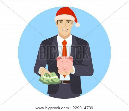 Businessman With Money And Piggy Bank. Portrait Of Businessman In A Flat Style. Vector Illustration.