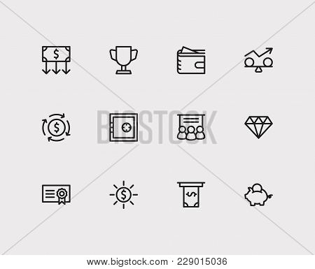 Investment Icons Set. Jewelry And Investment Icons With Bond, Money Transfer And Funds Protection. S