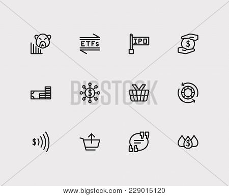 Finance Icons Set. Etfs And Finance Icons With Hedge Funds, Blue Chip Stocks And Quote. Set Of Eleme