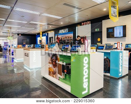 Lisbon, Portugal - Feb 10, 2018: Lenovo Pc Computer Stand Inside El Corte Ingles It Department Store