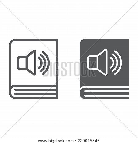 Audio Book Line And Glyph Icon, E Learning And Education, E Book Sign Vector Graphics, A Linear Patt