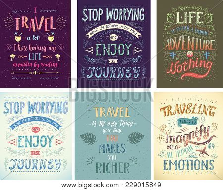 Set Of Travel Posters. Vector Hand Drawn Illustrations For T-shirt Print Or Posters With Hand-letter