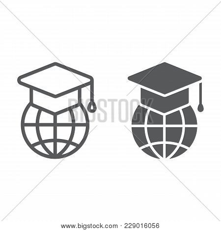 Global Education Line And Glyph Icon, E Learning And Education, Graduation Cap On Globe Sign Vector