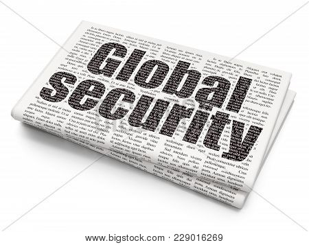 Protection Concept: Pixelated Black Text Global Security On Newspaper Background, 3d Rendering