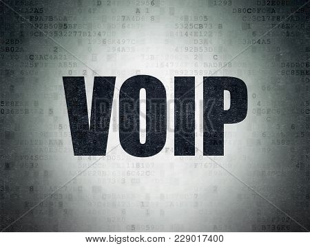 Web Design Concept: Painted Black Word Voip On Digital Data Paper Background