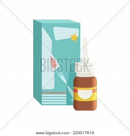 Brown Glass Medical Nasal Antiseptic Spray Bottle With Box, Pharmaceutical Medicament Vector Illustr