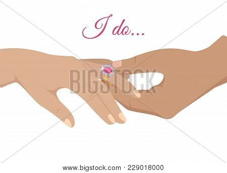 Mans Hand Puts Precious Ring With Gem On Womans Annulary Finger Isolated Flat Vector. Marriage Propo