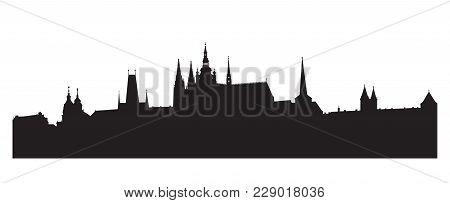 Prague Castle Silhouette. Czech Republic -- Vector Illustration