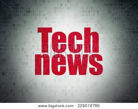 News Concept: Painted Red Word Tech News On Digital Data Paper Background