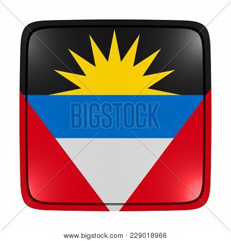3d Rendering Of An Antigua And Barbuda Flag Icon. Isolated On White Background.