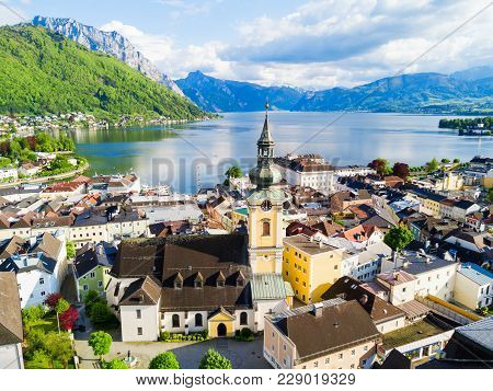 Pfarrkirche Catholic Parish Church In Gmunden City Centre And Traunsee Lake Aerial Panoramic View, A