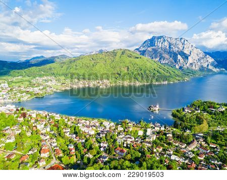 Gmunden Schloss Ort Or Schloss Orth On The Traunsee Lake Aerial Panoramic View, Austria. Gmunden Sch