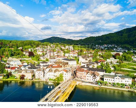 Gmunden Town Lakeside And Traunsee Lake Aerial Panoramic View, Austria. Gmunden Is A Town In Salzkam