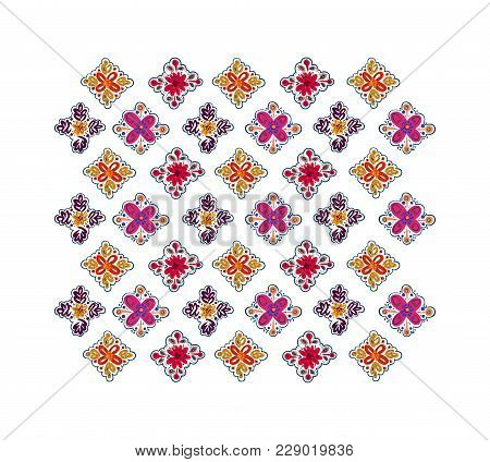 Decorative Folk Pattern Background. Eastern European Print.