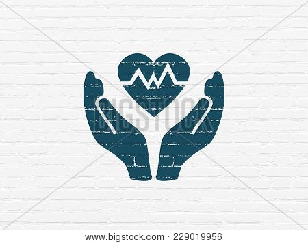 Insurance Concept: Painted Blue Heart And Palm Icon On White Brick Wall Background