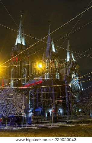 Beautiful Illuminated Night Winter Church Of St. Olha And Elizabeth In Lviv, Ukraine. Built In The Y