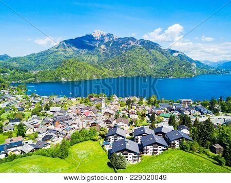 St. Gilgen And Wolfgangsee Lake Aerial Panoramic View In Salzkammergut Region In Austria