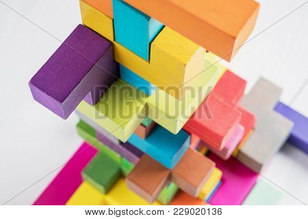Abstract Construction From Wooden Blocks . The Concept Of Logical Thinking, Geometric Shapes.